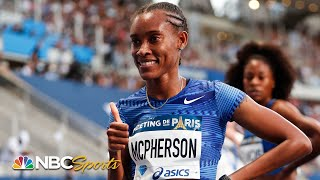 Stephenie McPherson battles three Americans to the line in women's 400m | NBC Sports