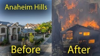 Anaheim Hills fire, before and after, Orange County wildfires, forest fires in California