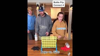 Bottle Flip Connect 4! Boys vs. Girls!