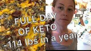 FULL DAY OF KETO FOOD   BACON BURGER FATHEAD PIZZA