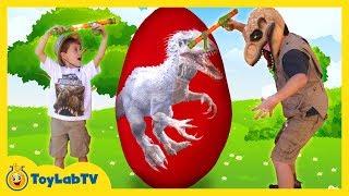 GIANT EGG SURPRISE OPENING! Indominus Rex & Biggest Dinosaur Toy Egg, Ultra T-Rex Kids Video