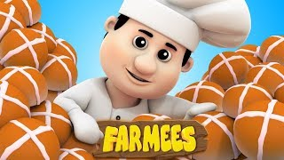 Hot Cross Buns | Nursery Rhymes | Kids Songs | Children Rhymes by Farmees