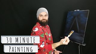 30 minute painting: Christmas Tree at Night