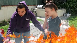 BURNING MY GIRLFRIENDS MAKEUP PRANK!!