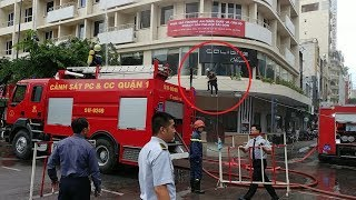 Xem lính cứu hỏa đu dây cứu người ở khách sạn - Firefighter climbs rope to rescue a man
