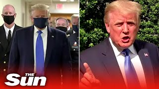 US President Donald Trump wears mask in public for the fir..