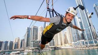 Dimitrov Soars Over Dubai On XLine Dubai Marina Zipline