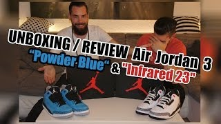 "2Lift - UNBOXING / REVIEW Air Jordan 3 Retro ""Powder Blue"" & ""Infrared 23"""
