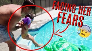 She's TERRIFIED of the pool! (we've tried everything!)