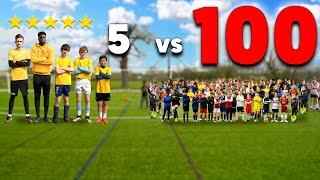 100 Kids vs 5 PRO Footballers In A Soccer Match - Challenge