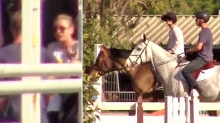 Kaley Cuoco Appears Upset While Horseback Riding With Boyfriend Karl Cook