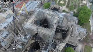 Notre Dame fire  drone footage shows damage to cathedral   YouTube 360p
