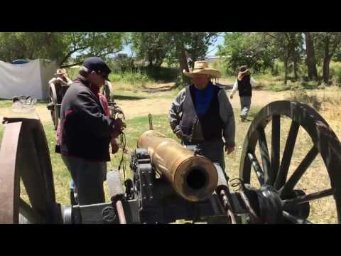 Demonstration of a 12-pound howitzer at U.S. Cavalry School at the Little Bighorn Battlefield