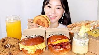 ASMR Egg Sandwich Mukbang 에그 샌드위치 에그슬럿 먹방 Eggslut 🍞 초코칩쿠키 바게트 サンドイッチ सैंडविच roti lapis ساندويتش