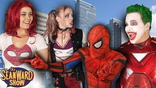 SPIDER-MAN vs IRON JOKER with Mary Jane & Harley Quinn - Real Life Superhero Movie