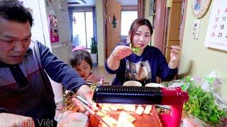 🇰🇷Cách Ăn Rau Cần Nước Của Người Hàn Quốc || rau cần nước ăn với thịt ba rọi nướng || 미나리삼겹살먹방