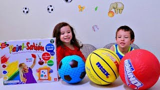 Preschool Kids Color Different Sport Ball with Paint Station Toy for Children