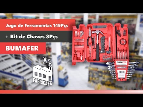 Jogo de Ferramentas Com 149 Pçs + Kit de Chaves 8Pçs Bumafer - Vídeo explicativo