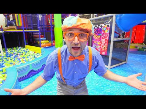 Blippi Plays at the Indoor Play Place