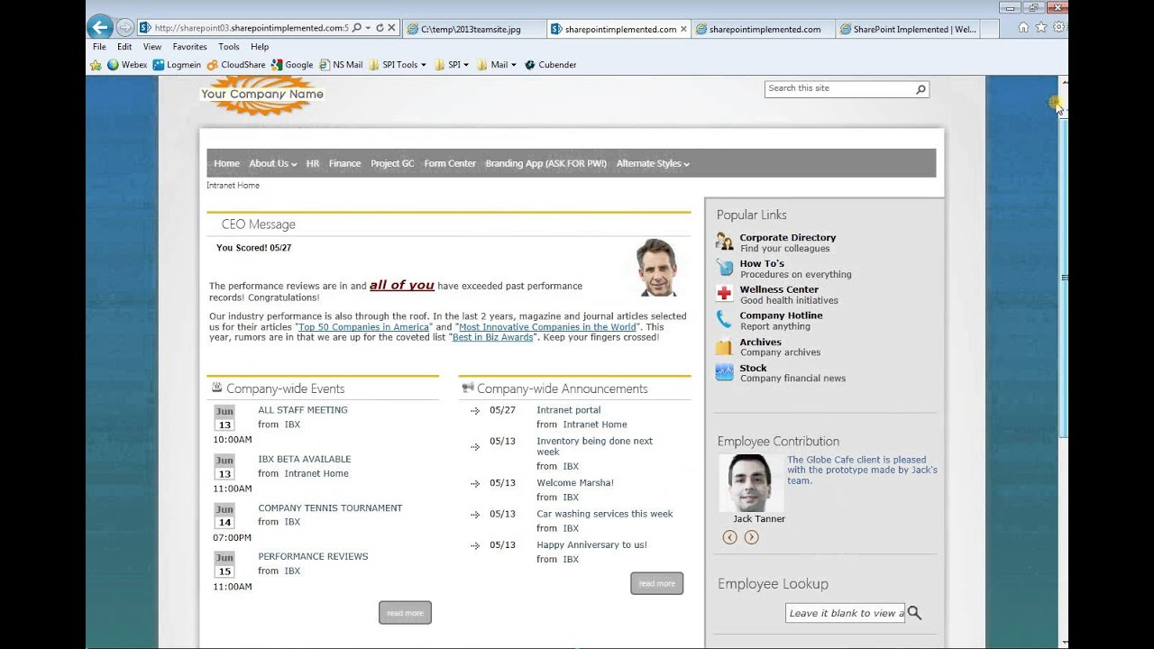 company intranet template - sharepoint 2013 intranet template youtube