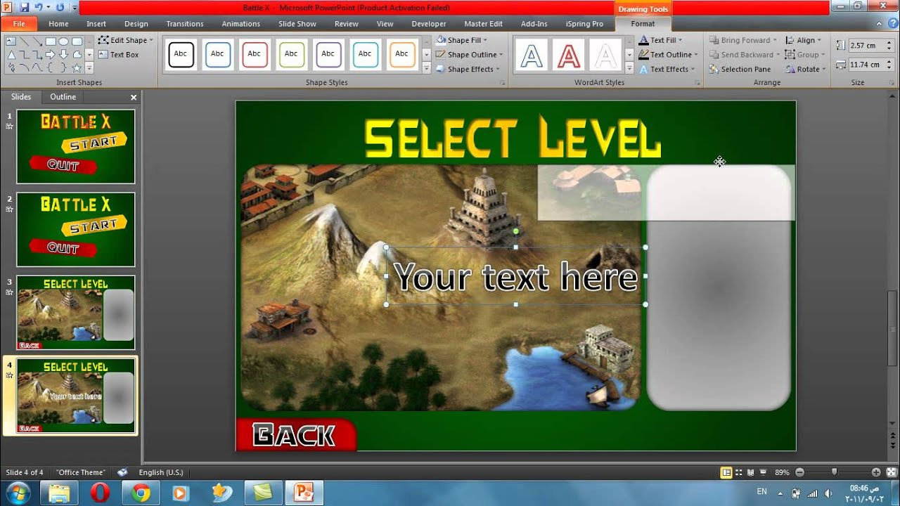 Power point game tutorial 2 - Make a level select - YouTube