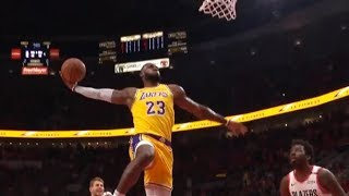 LeBron James' epic back-to-back dunks - first points as a Laker! (4 dunks in a row)