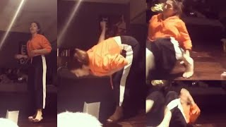 Actress Mehreen Pirzada falls down playing paper challenge..