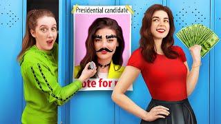 Popular Girl vs Normal Girl/ Student President Elections
