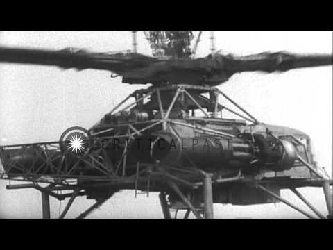 Aviator Howard Hughes tests his XH-17 'Flying Crane' helicopter in Culver City, C...HD Stock Footage