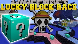 Minecraft: ONE PIECE CRAZY BLUE LUCKY BLOCK RACE - Lucky Block Mod - Modded Mini-Game