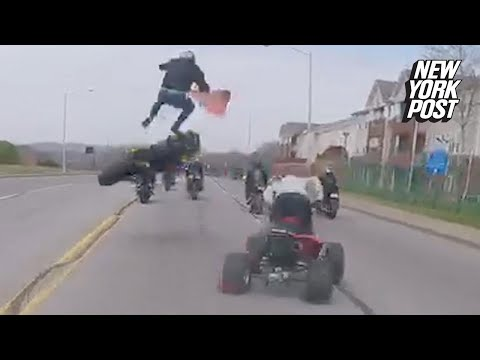 Failed motorcycle stunt sends the rider flying