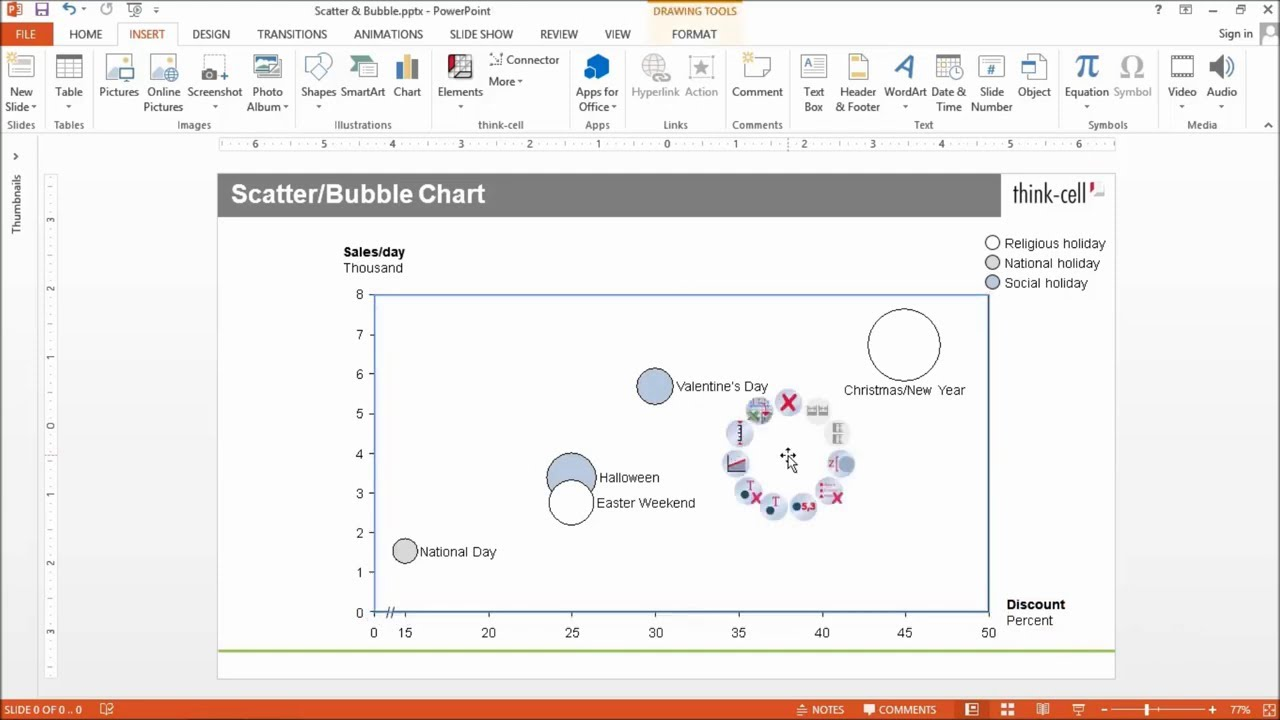 Features charting excel data links and slide layout think cell scatter and bubble chart ccuart Choice Image