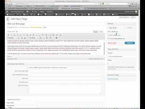 Wordpress 101 pt 2.  Creating Content