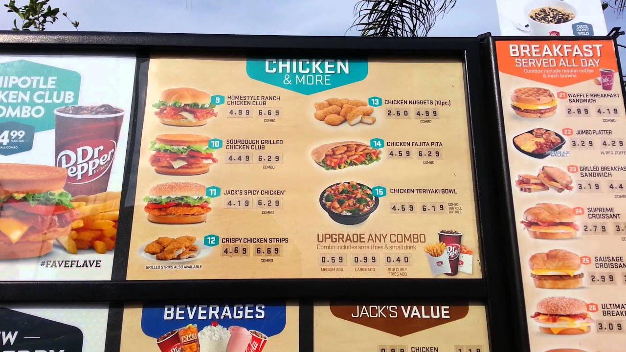 Jacks Restaurant Menu Prices
