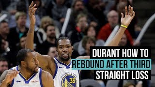 Warriors' Kevin Durant on the third straight loss