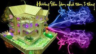 Hướng dẫn làm nhà bằng tăm tre 3 tầng đẹp ( Instruction for house made of toothpick )