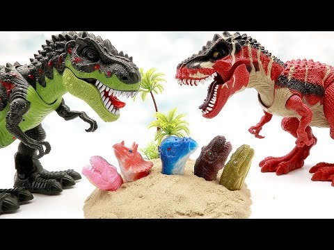Dinosaurs are dangerous. Let's escape from T-Rex And sand. Dinosaur Toys for kids