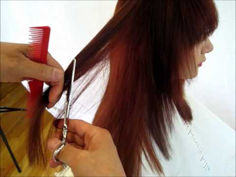 How to cut hair long hair cut inside out step by step 2