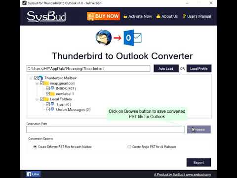 SysBud Thunderbird to Outlook Migration
