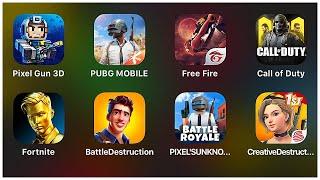 Pixel Gun 3D,PUBG Mobile,Free Fire,Call of Duty,Fortnite,Battle Destruction,Creative Destruction