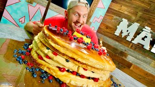 We Made a Giant 200 Pound Pancake Stack and Ate It!!
