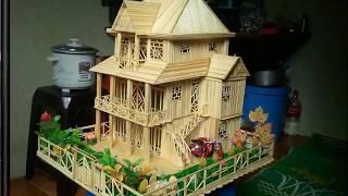 Mô Hình Nhà Bằng Tăm Tre |  Cực Đẹp | Đầy Đủ Nội Thất
