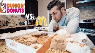 Dunkin Donuts Menu Challenge - DD Vs. McDonalds Best Fast Food Breakfast?