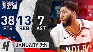 Anthony Davis COLD Highlights Pelicans vs Cavaliers 2019.01.09 - 38 Pts, 13 Reb, BEAST!