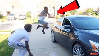 BROKEN CAR WINDOW PRANK ON COREY!! (HE K!CKED US OUT)