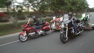 Bikes Towing Bikes! Honda Gold Wing & CRF250X vs. Kawasaki Vulcan Voyager & KX250F | ON TWO WHEELS