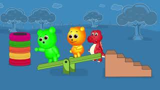 [Gummy] Little Baby Gummy Bear Fun Play Learning Colors for Children with Color Tires Bounce Seesaw