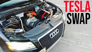 Worlds ONLY Tesla Swapped Audi! How Did He do it?