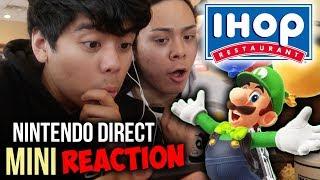 REACTING to the Nintendo Direct Mini 2018 @ IHOP [MARIO TENNIS ACES, LUIGI ODYSSEY DLC + MORE]