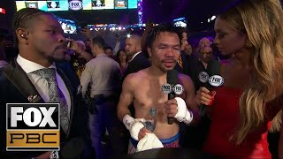 Manny Pacquiao speaks with Kate Abdo and Shawn Porter after his split-decision victory | PBC ON FOX